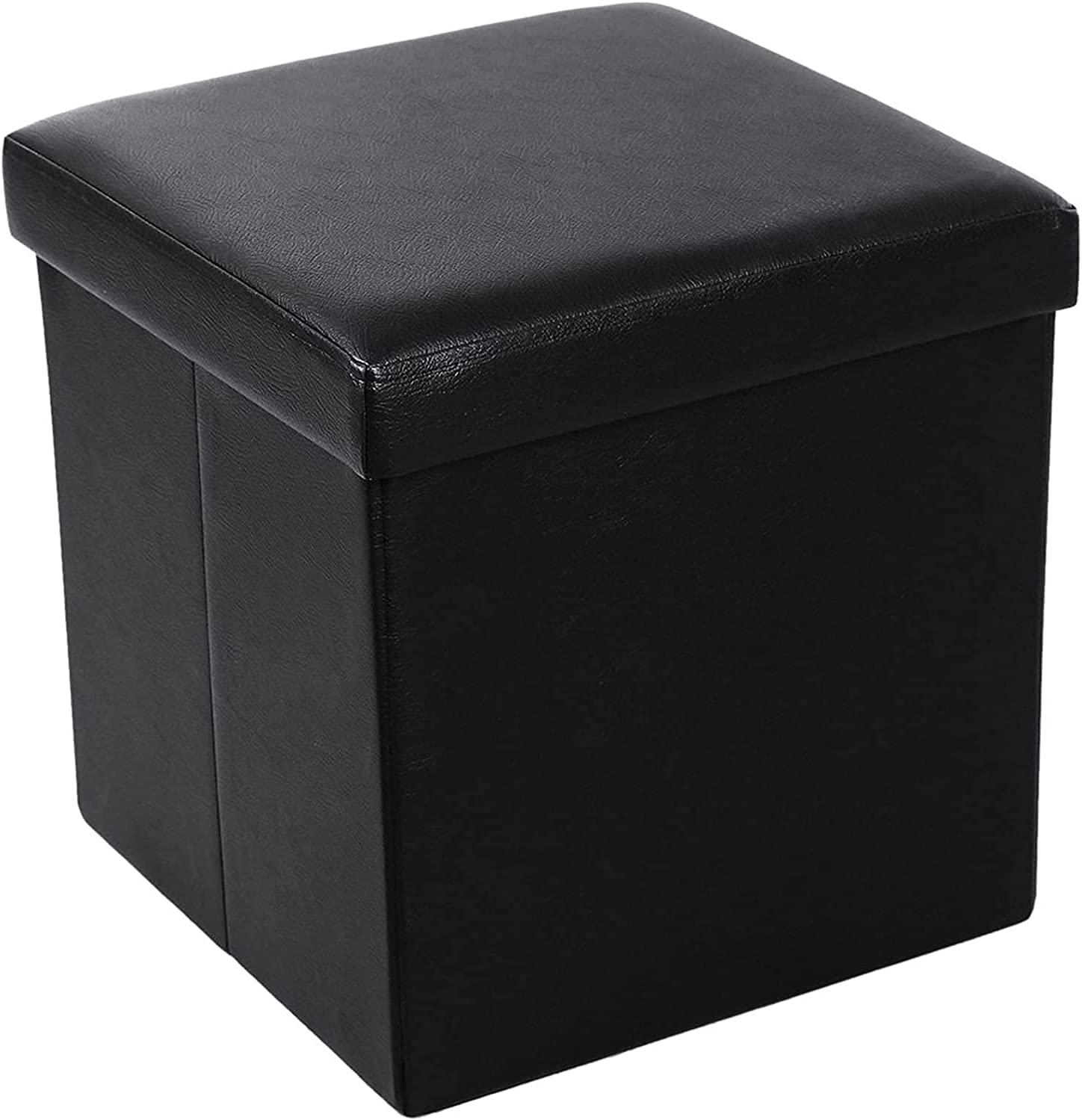 HDHUIXS Concentrating PU Dedication Time sale Leather 38x38x38 Black Smooth Footstool