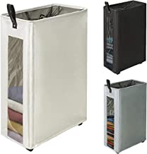 """ZERO JET LAG 27 inches Slim Laundry Hamper Large Tall Laundry Basket on Wheels Clear Window Visible Dirty Clothes Hamper Thin Clothes Storage Standable Corner Bin Handy 16""""×8.6""""×27"""" Beige"""