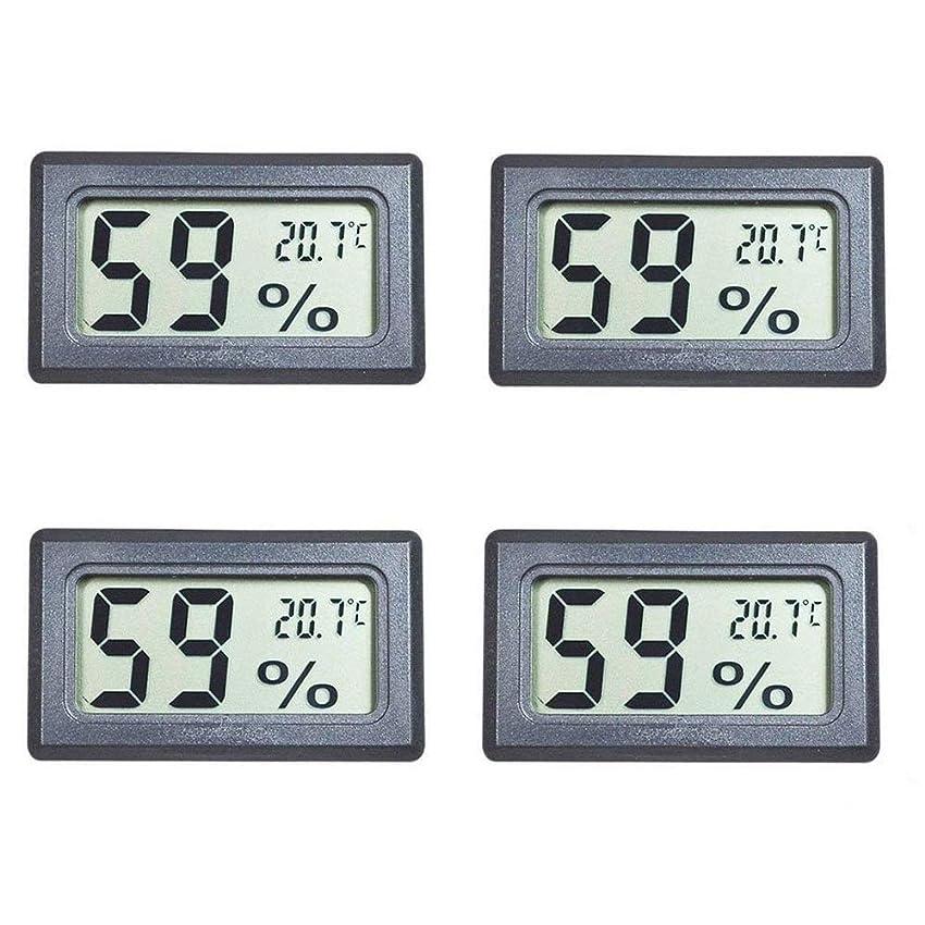 中級量で歴史家4ミニデジタル温度湿度計屋内温度計湿度計液晶ディスプレイ用ヒュミドール車温室インジケータルーム - 摂氏℃ディスプレイ