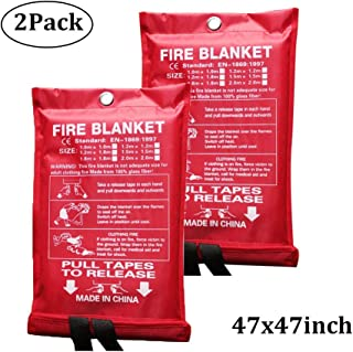 Sucastle Large Upgraded Fire Blanket in Soft Case Emergency Flame Retardent Shelter Safety Cover for People Adult Child Easy to Install Quick to Deploy (Color : White, Size : 47x47inch/1.2x1.2m)