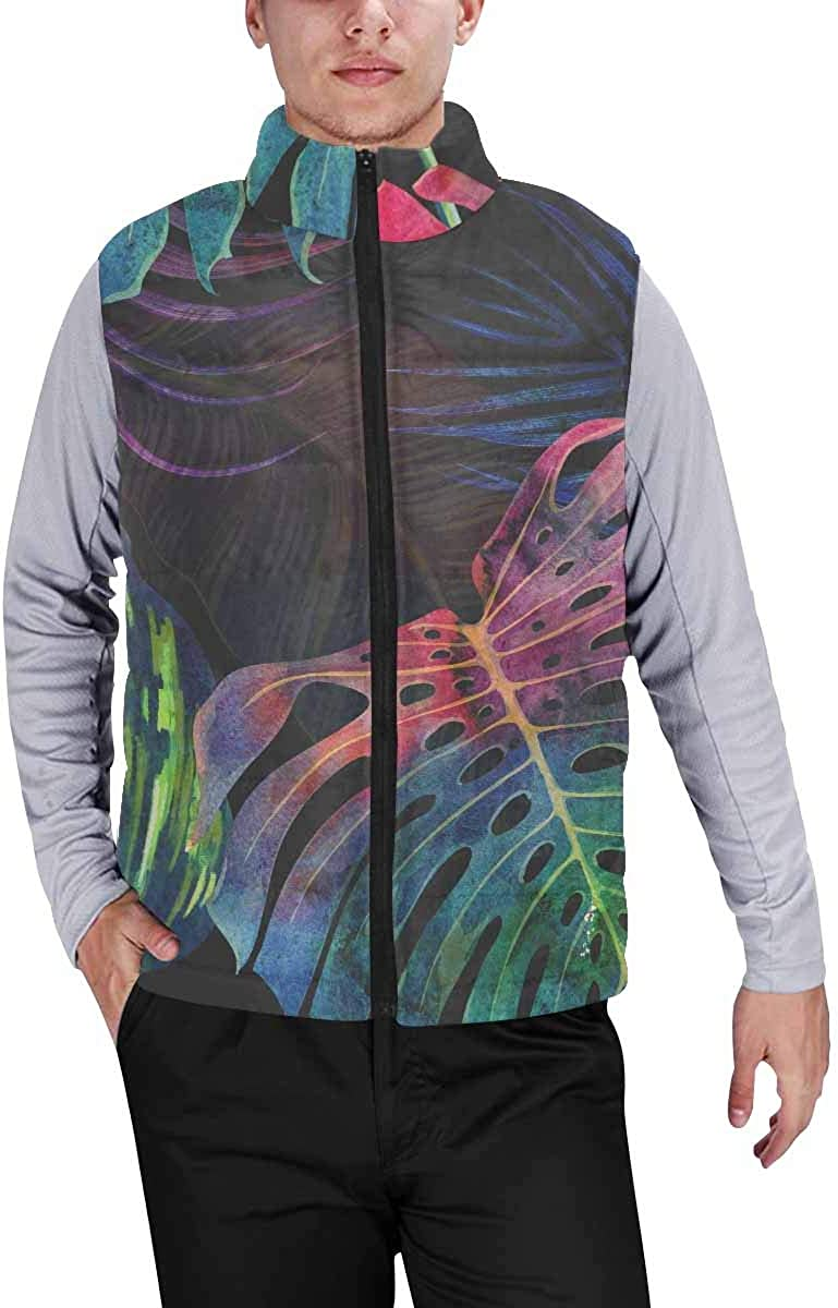 InterestPrint Men's Outdoor Casual Stand Collar Sleeveless Jacket Tulips Flowers Bouquet with Hearts