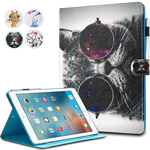 KEROM iPad 10.2 Inch 2019 Case, Premium Leather Folio Case Cover for Apple iPad 10.5 Inch Case with Auto Sleep/Wake Shock Proof Protective Stand Case for iPad Air 3,Pro 10.5 Inch Case,Cat