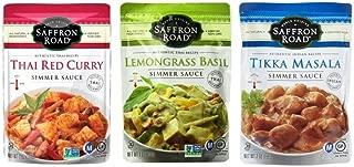 Saffron Road Authentic Recipe Simmer Sauce 3 Flavor Variety Bundle: (1) Saffron Road Thai Red Curry, (1) Saffron Road Thai Lemongrass Basil, (1) Saffron Road Indian Tikka Masala, 7 Oz Ea (3 Pouches)