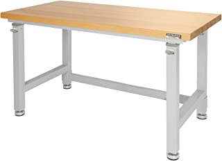 "Seville Classics UltraHD Height Adjustable 4-Foot Heavy-Duty Wood Top Workbench Table, 48"", Granite Gray"