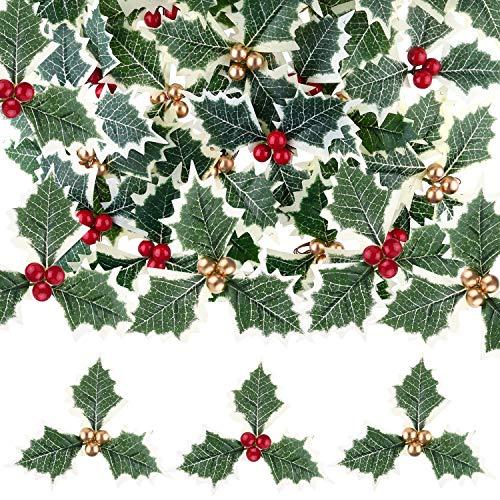 TUPARKA 30 Pezzi di Bacche di Agrifoglio Artificiali con Foglie Verdi per la Disposizione della Ghirlanda di Natale, scelte di Bacche di Agrifoglio per la Torta di Natale Topper Confezione Regalo