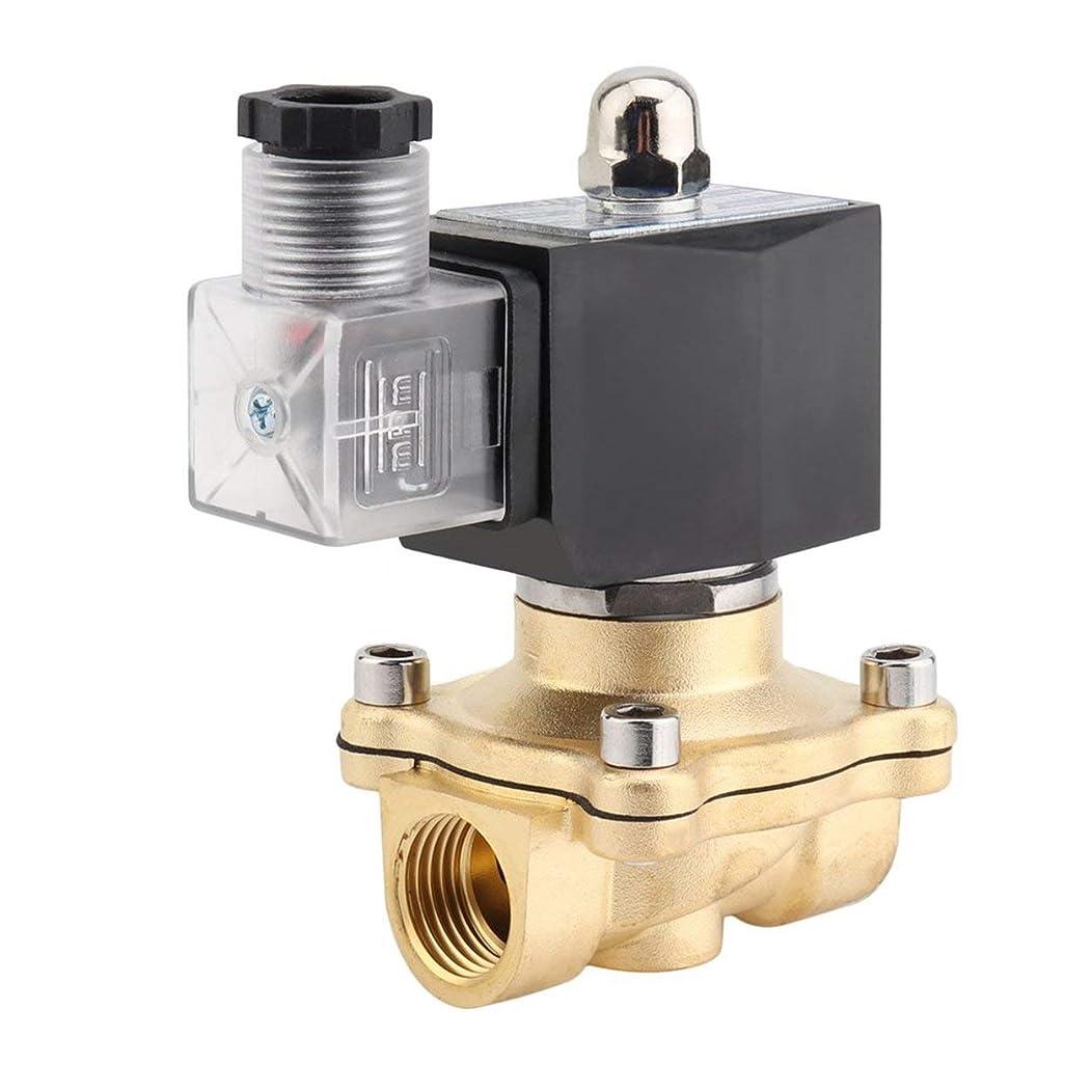 Saikogoods 高性能1/2インチAC 220V 2Wスクエアコイル純銅直動ソレノイドバルブ電磁弁 ブラック&ゴールデン