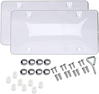 Car License Plates Shields 2 Pack Clear Bubble Design Novelty Plate Covers to Fit Any Standard US Plates, Unbreakable Frame Covers to Protect Front, Back License Plates, Screws Included
