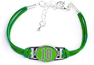 AttitudeArcade Number Charm Bracelet (00-99) Jersey Style in Team Colors (Kelly Green & Grey)