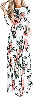YUMDO Women's 3/4 Sleeve Floral Dress Casual Stretch Maxi...