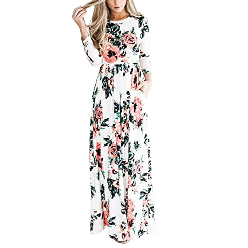 69250d9300ee YUMDO Women s 3 4 Sleeve Floral Dress Casual Stretch Maxi Long Dresses