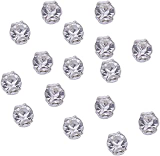 Zijing 100pcs Silver Clear Czech Glass Rhinestone Rose Montees Beads With 4 Holes for Sew On (clear white--100pcs)