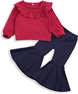 HAPPYMA Toddler Baby Girls Outfit Ruffle Lace Long Sleeve Tube Shirts Top Bell-Bottoms Trousers Fall Winter 2pcs Pants Clothes