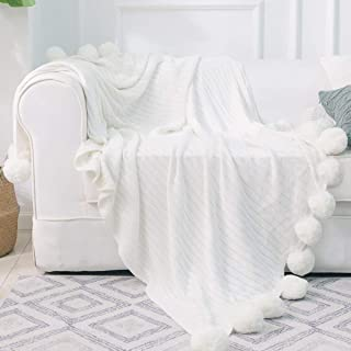 DOKOT Knitted Throw Blanket with Pom Poms Cotton for Sofa/Bedding/Couch Cover (White, 59