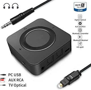 EMEBAY - Bluetooth 5.0 Transmitter and Receiver, Digital Optical TOSLINK and 3.5mm Wireless Audio Adapter for TV/Home Stereo System - aptX Low Latency