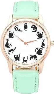 Fun Animal Series Twelve Cute Cats Scale Rose Golden Case PU Leather Strap Womens Girls Quartz Wrist Watch,Green