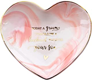 VILIGHT Mother of The Groom Wedding Gift Mom Gifts from Bride Groom- Marble Ceramic Heart Jewelry Tray - Large Size 5.5 Inches