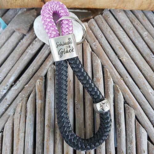 Schlüsselanhänger Segelseil - Kletterseil, Schlüsselband, Glaube Liebe Hoffnung Anker maritim segelseil, handmade, Taschenbaumler, rosa, grau