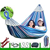 XHHWZB Easy Eagle Hamacas Anti-Rollover Travel Camping Canvas Hamaca al Aire Libre Rainbow Stripes Swing Enviar Tie Rope + Bag (78.74'x39.37 Double Red Stripes) (Color : Blue)