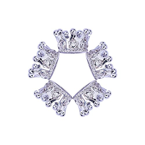 Wholesale Luxury Micro Pave Cubic Zirconia Crown Beads For Men Bracelet Making Jewelry Charm Rose Gold Color Brass Spacer Bead Beads & Jewelry Making