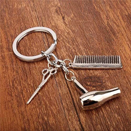DdA8yonH Sleutelhanger, Barber Shop Haar Dressoir Gereedschap Sleutelhanger 3D Barber Pole Razor Kappers Sleutelhangers Creatieve Trinkets Souvenir