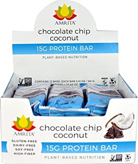 Amrita Foods - Top 14 Allergy Free, Chocolate Chip Coconut Protein Bar, Pack of 12, No Added Sugar