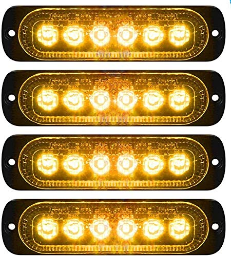 LED-Seitenmarkierungsleuchten, Seitenmarkierungs-LED-Leuchten 4PCS 6 LED Auto Car Truck Trailer Caravan Seitenmarkierungsleuchte 12V 24V (Gelb)