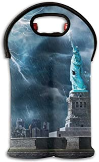 YYH Wine Tote Carrier Bag Statue of Liberty Lightning Purse for Champagne,Water Bottles