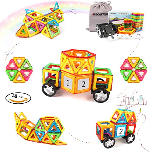AMOSTING Educational Toys for Toddlers with Car Wheels Magnetic Tiles Building Block