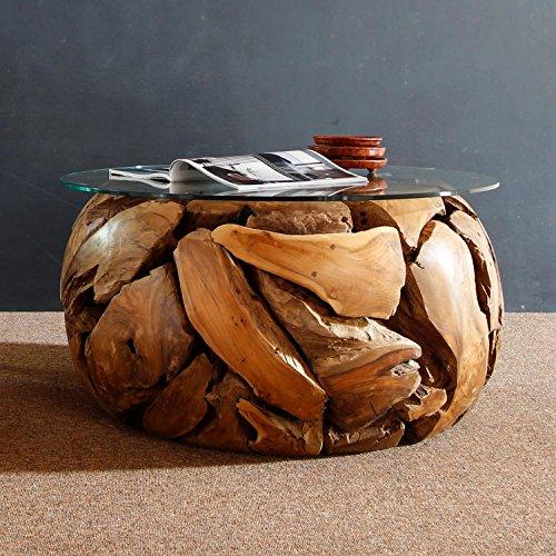 Möbel Bressmer Teak Couchtisch rund mit Glasplatte XILON Teakholz Wurzeltisch massiv Handarbeit Unikat | Tisch Holz Treibholz massiv rustikal | Altholz Naturholz