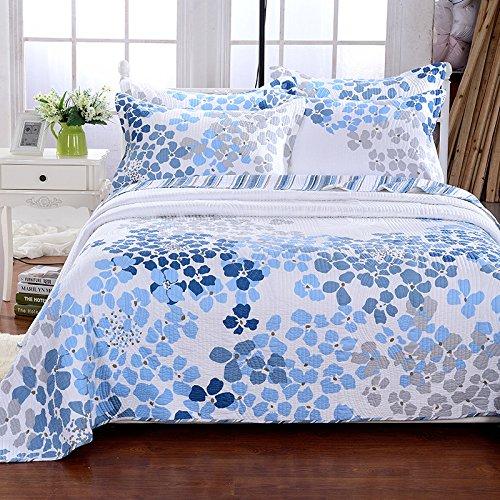King size Beddingleer cotone blu e bianco Seashell Beach jacquard biancheria da letto king size copriletto/trapunta 3pezzi