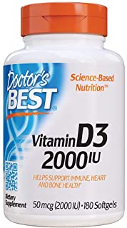 Doctor's Best Vitamin D3 2, 000 IU, Healthy Bones, Teeth, Heart & Immune Support, Non-GMO, Gluten-Free, Soy Free, 180 Coun...