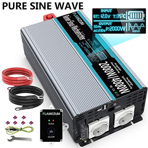 SUDOKEJI 2000W Reiner Sinus Spannungswandler 12V auf 230V Wechselrichter Konverter mit Zwei AC-steckdosen mit Fernbedienung 2.4A USB Port und Intelligentes Display - Spitzenleistung 4000 Watt