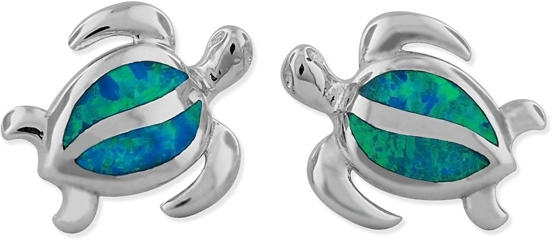 Sterling Silver Synthetic bluee Opal Turtle Stud Earrings