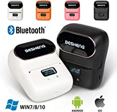BESHENG Portable Smartphone Bluetooth Lable Printer, Direct Thermal Label Printer, Lable Maker Machine for Barcode,Text, Excel, Picture etc, Compatible iOS & Android System (Black)