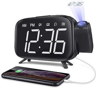 目覚まし時計 デジタル時計 投影 大音量 FMラジオ スヌーズ機能 投影180° 回転可能 壁 天井 LED画面 三階段の明るさ USB給電 携帯充電可能 ダブルアラーム付き ELEHOT