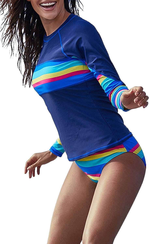 ROSKIKI Women's Rash Guard Long Sleeve Printed UV Rashguard Swimsuits Colorblock Swim Shirt Padded Surfing Athletic Swimwear
