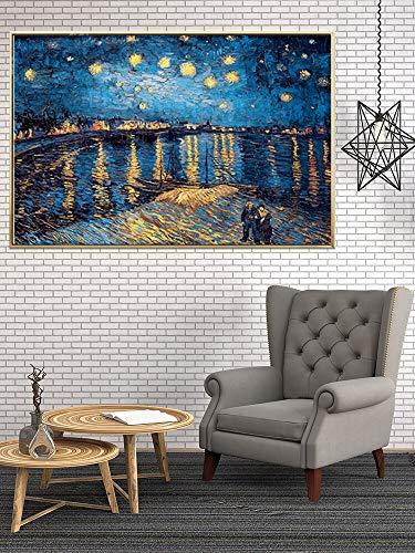 wZUN Van Gogh Pintura al óleo Noche Estrellada Girasol Lienzo Abstracto Arte impresión Cartel Imagen Pared decoración de la casa Mural 60x80 Sin Marco