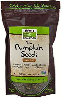 NOW Foods, Pumpkin Seeds, Raw and Unsalted, Essential Fatty Acids, Rich in Iron, Excellent Source of Protein, Certified No...