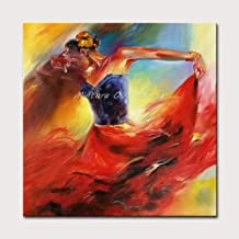 لوحة فنية جدارية لغرفة المعيشة من SANSNMI بصورة امرأة الفلامينغو الأكريلك كانفا لوحة زيتية موردن مرسومة باليد ديكور المنزل...