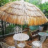Outech Sombrilla d Jardín Natural Parasol, Ø210cm / 82.6in Sombrilla de Paja de Playa de Estilo Hawaiano, con Mecanismo de...