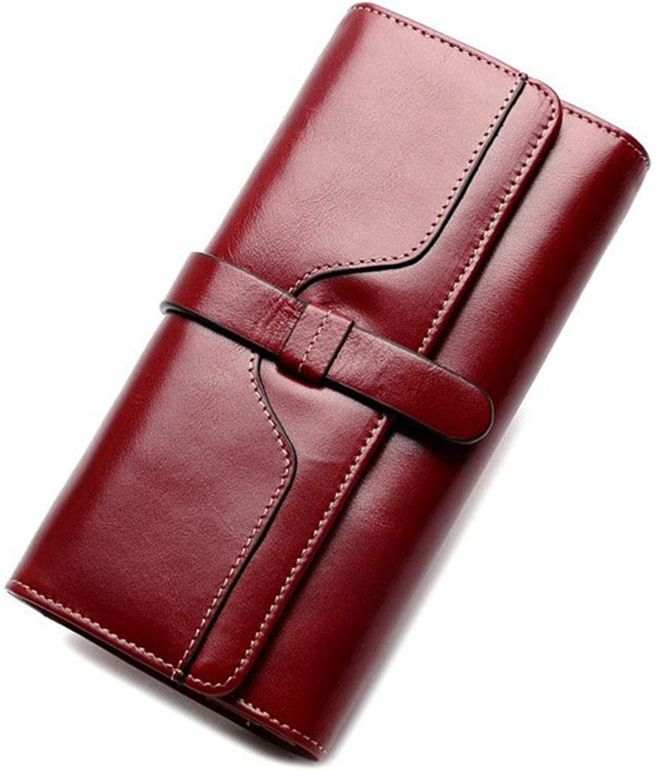 Ladies Leather Wallet Long Zipper Clutch Bag Ladies Large Capacity Wallet Clutch (color   Red)