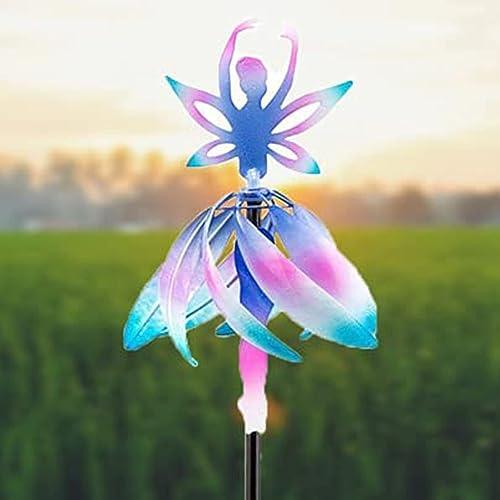 discount RiamxwR Fairy Ballerina Wind Spinner Windmill Metal Wind Spinner for Outdoor Garden Easy Spinning Kinetic Wind Spinner for Outside Metal Sculpture 2021 Stake Garden Yard Decoration online Ornament, 12In outlet online sale
