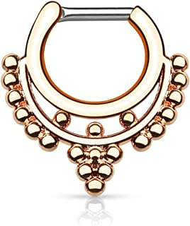 Gekko Body Jewellery Setto Clicker Naso Daith con perline colletto in acciaio chirurgico placcato oro rosa – 1,2 mm