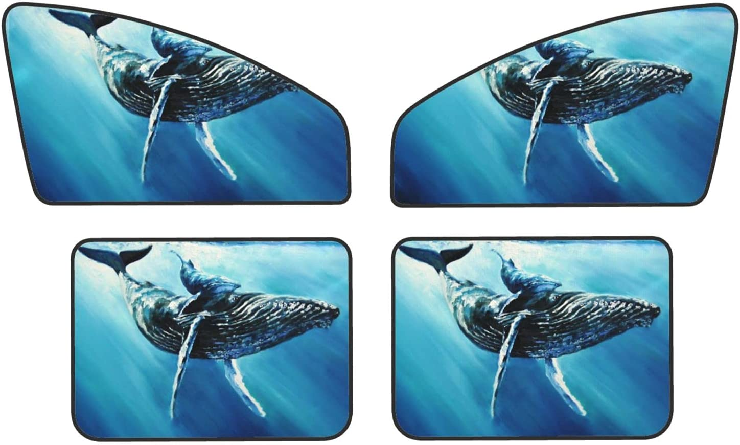 Hunchback Whale Painting Car Window Sun - 4 National uniform free shipping Reduc Super Special SALE held Shade Pack