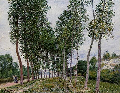 Gör-det-själv digital målning efter nummer för vuxna Alfred Sisley känd målning Lane of Poplars på Banks of The Loing Arts hantverk för väggdekor i hemmet