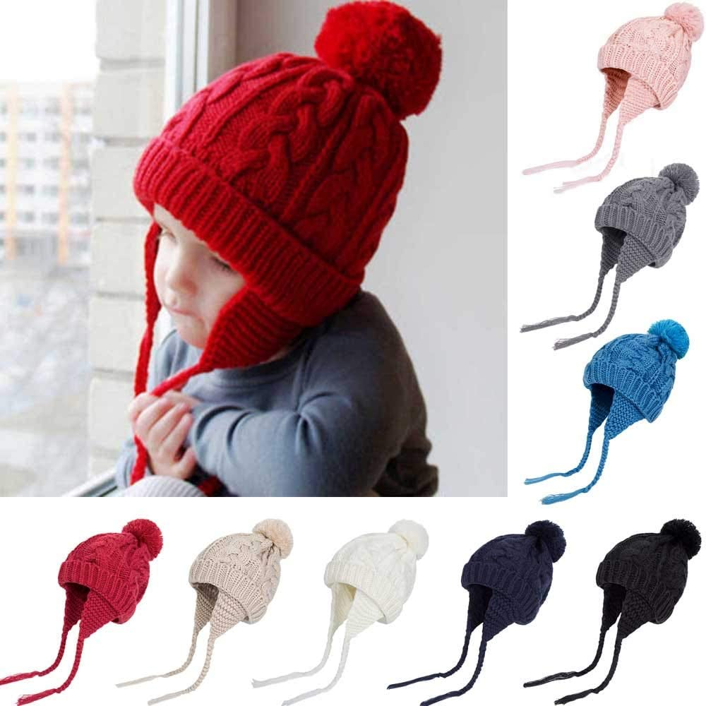 for Kids Baby 0-6T WARMSHOP Toddler Girls Boys Knitted Pompon Hat with Earflaps Warm Cuff Winter Bear Caps with Chin Strap