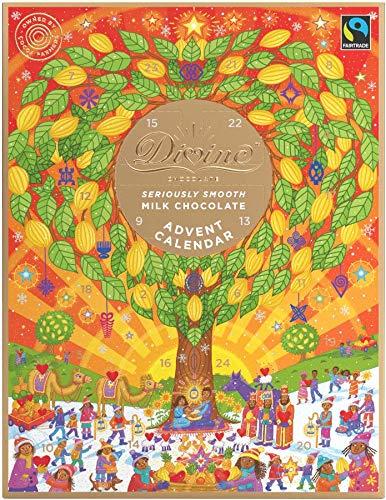 DIVINE CHOCOLATE FAIR TRADE Milk Chocolate Advent Calendar - 85g (Pack of 3)