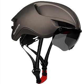 iWUNTONG Casco de Bicicleta de montaña para Adulto, Casco Bici con certificación CE con Visera Solar extraíble e luz Trase...