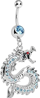 Brilliant Blue Chinese Dragon Charm Dangle Belly Ring