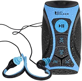 HIFI WALKER 100% 8gb Waterproof MP3 Player with FM Radio and Underwater Headphones for Swimming by Swimmer - Blue
